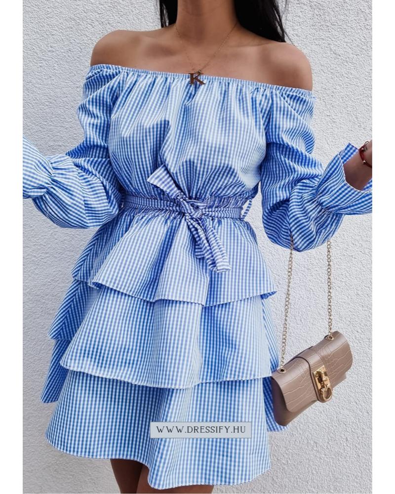 Kockás nyári ruha-kék