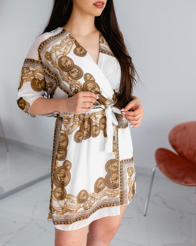 Mintás ruha -fehér
