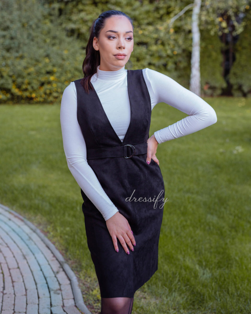 Velúr hatású öves ruha