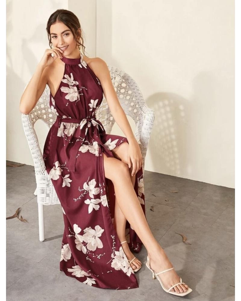 Virágos Maxi ruha megkötővel